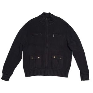 Cutter & Buck Black Zip-up Knit Sweater size Large